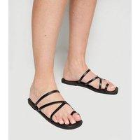 Black Leather-Look Toe Loop Strappy Sliders New Look Vegan