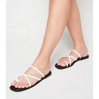 White Faux Croc Toe Loop Strappy Sliders New Look Vegan