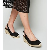 Wide Fit Black Canvas Espadrille Wedges New Look