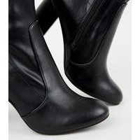 Black Leather-Look Heeled Sock Boots New Look