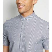 Blue Stripe Short Sleeve Oxford Shirt New Look