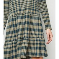 JDY Teal Check Smock Dress New Look
