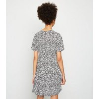 Girls Black Ditsy Floral Tiered Mini Dress New Look
