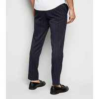 Mens Navy Pinstripe Cropped Trousers New Look