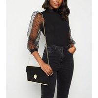 Black Suedette Envelope Clutch Bag New Look Vegan