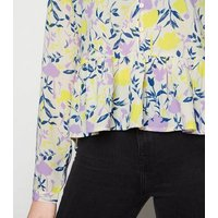 JDY Yellow Floral Frill Shirt New Look