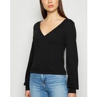 JDY Black Fine Knit Wrap Jumper New Look