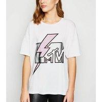 Noisy May White Metallic MTV Logo T-Shirt New Look