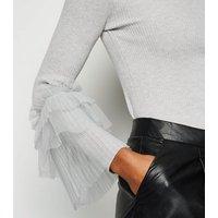 Cameo Rose Pale Grey Mesh Ruffle Sleeve Jumper New Look