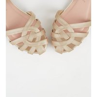 Wide Fit Gold Metallic Caged Shoes New Look Vegan