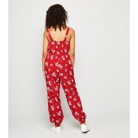 Girls Red Floral Cuffed Leg Jumpsuit New Look