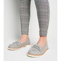 Wide Fit Grey Suedette Chunky Cleated Loafers New Look Vegan
