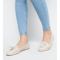 Off White Leather-Look Laser Cut Loafers New Look Vegan