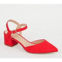 Wide Fit Red Suedette Low Heel Court Shoes New Look Vegan