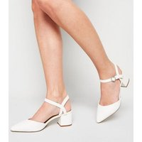 Wide Fit White Leather-Look Low Heel Court Shoes New Look Vegan