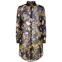 Black Floral Chiffon Long Shirt New Look