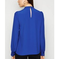 Bright Blue High Neck Blouse New Look