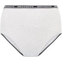Curves Pale Grey Amour Slogan High Waist Briefs New Look