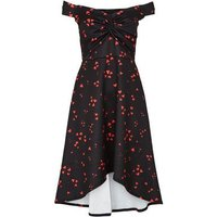 Mela Black Heart Print Knot Front Midi Dress New Look