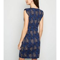 Mela Blue Paisley Print Belted Mini Dress New Look