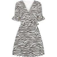 Mela Black Zebra Print Wrap Dress New Look