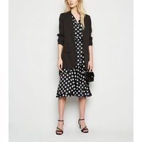 Mela Black Polka Dot Satin Midi Wrap Dress New Look