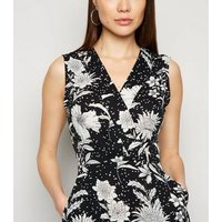 Mela Black Floral and Spot Wrap Midi Dress New Look