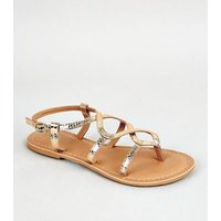 Girls Gold Leather Twist Strap Sandals New Look