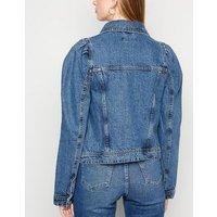 Cameo Rose Blue Denim Puff Sleeve Jacket New Look