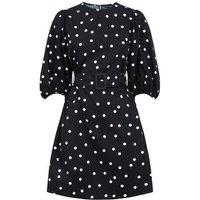 Black Spot Puff Sleeve Belted Poplin Dress New Look
