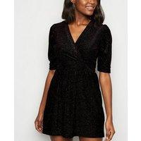 Urban Bliss Black Velvet Sequin Skater Dress New Look