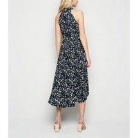 Mela Blue Ditsy Floral Dip Hem Dress New Look