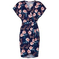 Mela Blue Floral Wrap Front Mini Dress New Look