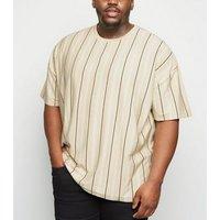 Plus Size Stone Contrast Stripe T-Shirt New Look