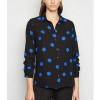 Black Spot Long Sleeve Collared Shirt New Look