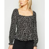 Black Abstract Spot Square Neck Top New Look