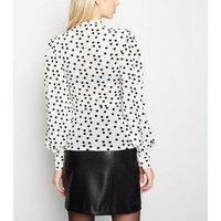 Cream Flocked Spot Mesh Puff Sleeve Top New Look