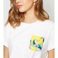 Noisy May White Printed Pocket T-Shirt New Look