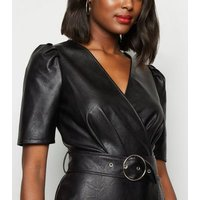 Black Leather-Look Puff Sleeve Mini Wrap Dress New Look