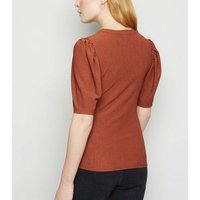 Coral Crinkle Puff Sleeve T-Shirt New Look