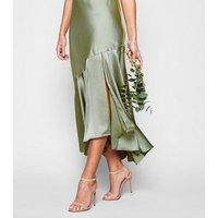 Light Green Satin Frill Hem Midi Dress New Look