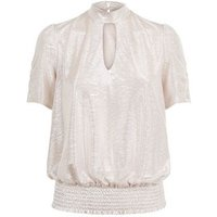 Pale Pink Metallic Plisse High Neck Top New Look