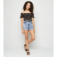 Girls Pale Blue Ripped Mom Denim Shorts New Look