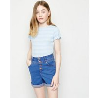 Girls Bright Blue High Waist Denim Shorts New Look