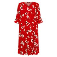 Curves Red Floral Frill Smock Midi Dress New Look