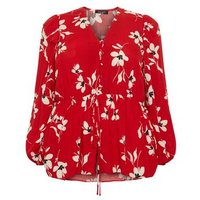 Curves Red Floral Peplum Blouse New Look