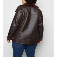 Curves Dark Brown Leather-Look Aviator Jacket New Look