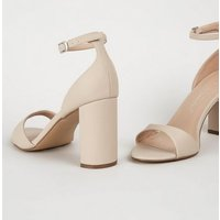 Wide Fit Cream Leather-Look Thin Strap Block Heels New Look Vegan