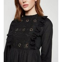 Tall Black Broderie Frill Peplum Top New Look