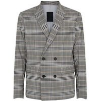 Grey Check Double Breasted Slim Fit Suit Jacket New Look